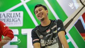 Mohammad Ahsan saat menghadiri meet and greet Djarum Superliga Badminton 2019.