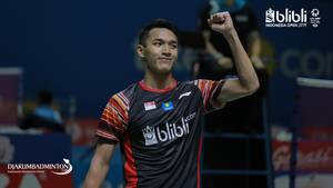 Selebrasi Jonatan Christie (Indonesia) saat berlaga di ajang Blibli Indonesia Open 2019 BWF World Tour Super 1000.