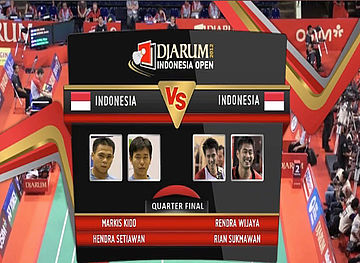 Markis Kido/Hendra Setiawan (INDONESIA) VS Rendra Wijaya/Rian Sukmawan (INDONESIA) Mens Double Quarter Final Djarum Indonesia Super Series Priemer 2012