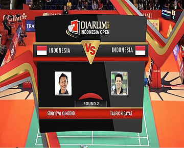 Sony Dwi Kuncoro (INA) VS Taufik Hidayat (INA) Men Single Round 2 Djarum Indonesia Super Series Priemer 2012