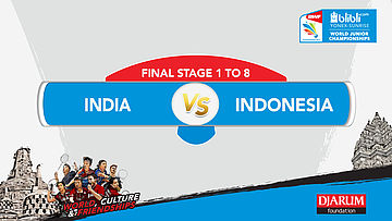 BLIBLI.COM WJC 2017 | FINAL STAGE 1 To 8 | INDIA vs INDONESIA | MS