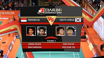 Rendra Wijaya/Rian Sukmawan (Indonesia) VS Ko Sung Hyun/Yeon Seong Soo (South Korea) Round 2 Mens Double DJARUM Indonesia Open Super Series Premier 2012