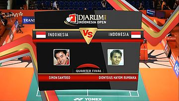Simon Santoso (Indonesia) VS Dionysius Hayom Rumbaka (Indonesia) Quarter Final Mens Single DJARUM Indonesia Open Super Series Premier 2012