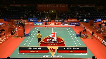 Lee Chong Wei (MALAYSIA) VS Wang Zhengming (CHINA) Djarum Indonesia Open 2013
